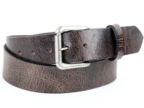 Distressed brown leather belt with a removable silver buckle and a belt loop.