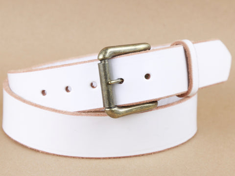 "Handmade Leather Dress Belt with Snaps-""White"""