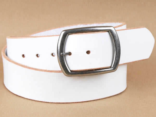 "Handmade Wide Leather Snap On Belt-""White'' (1.75'')"