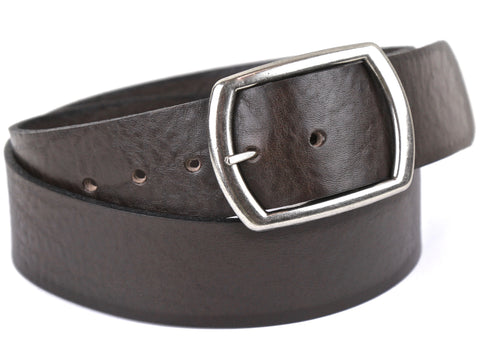 "Handmade Wide Leather Snap Belt-""Brown Pebble Grain"" (1.75"")"