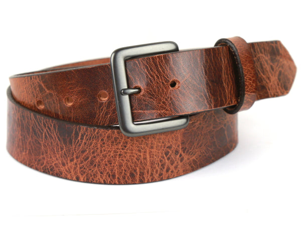 "Handmade Leather Belt-""Distressed Tan''"