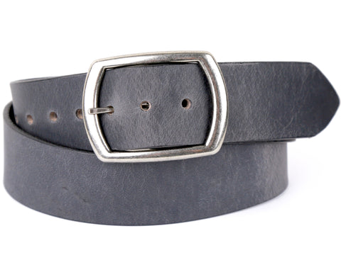 "Handmade Wide Leather Snap On Belt-""Slate Grey'' (1.75'')"