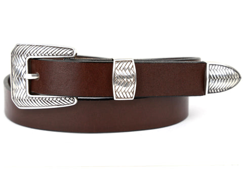 "Handmade Leather Belt and 3-Piece-Buckle-Set ""Brown Leather Belt with Rope Buckle"""