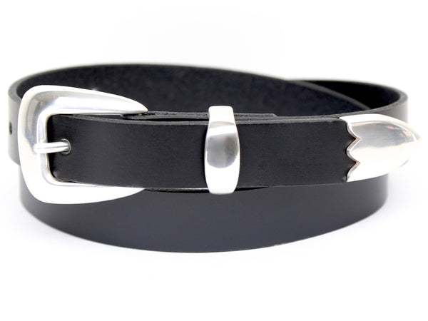 Handmade Black Leather Belt and 3-Piece-Buckle Set