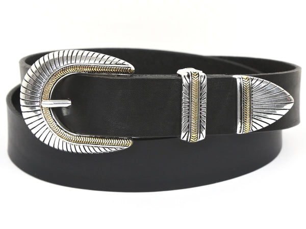 "Handmade Leather Belt and 3-Piece-Buckle-Set ""1.25'' Two-Tone"""