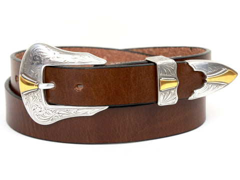"Handmade Leather Belt and 3-Piece-Buckle-Set ""Brown Leather Belt with Two-Tone Dagger Buckle"""