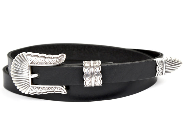 "Handmade Leather Belt and 3-Piece-Buckle-Set ""Black Leather Belt with Seashell Buckle"""