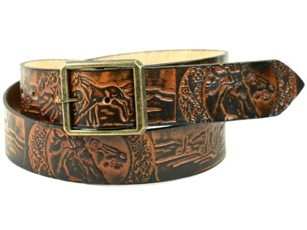 "Handmade Leather Belt-""Horses"""