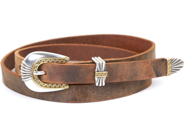 "Handmade Leather Belt and 3-Piece-Buckle-Set ""Two-Tone Geo"""