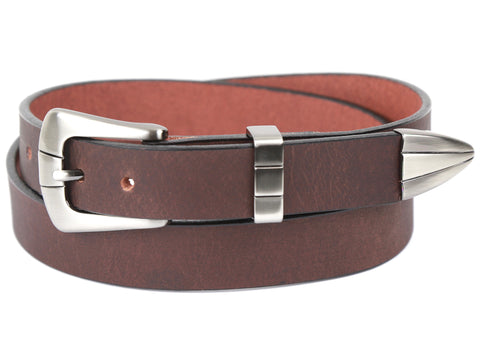 Handmade Cognac Leather Belt and 3-Piece Gunmetal-Buckle Set
