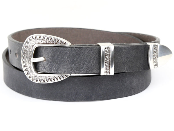 Handmade Grey Leather Belt and 3-Piece-Buckle Set