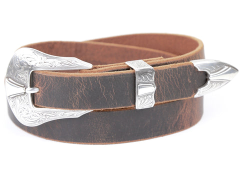 "Handmade Leather Belt and 3-Piece-Buckle-Set ""Sandstone Leather Belt with Silver Dagger Buckle"""