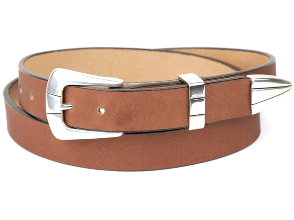 Handmade Light Brown Leather Belt and 3-Piece-Buckle Set