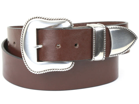 "Handmade Leather Belt and 3-Piece-Buckle-Set ""1.5 Brown Belt with Silver Buckle Set"""