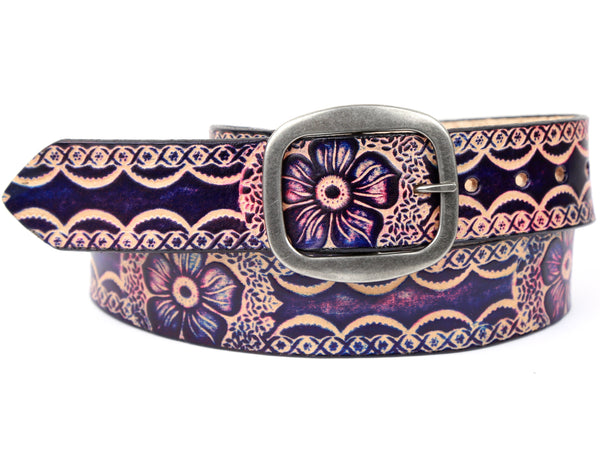 "Handmade Leather Belt-""Berry Floral"""