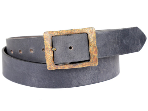 Copper Patina Buckle with Slate Grey Leather Belt
