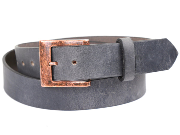 Antique Copper Buckle with Slate Grey Leather Belt