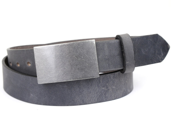 Rectangle Buckle and Slate Grey Leather Belt Combination
