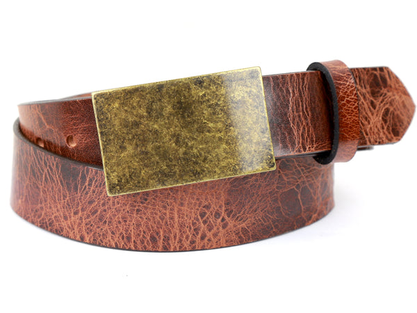 Antique Brass Rectangle Buckle and Distressed Tan Leather Belt Combination