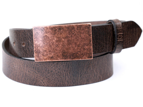 Antique Copper Rectangle Buckle and Distressed Brown Leather Belt Combination