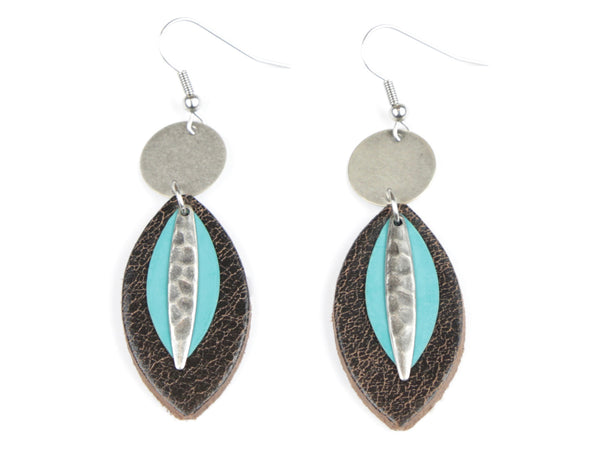 "Handmade ""Turquoise Tear-Drop"" Leather Earrings"