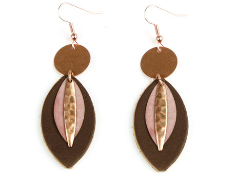 "Handmade ""Rose Colored Lenses"" Leather Earrings"