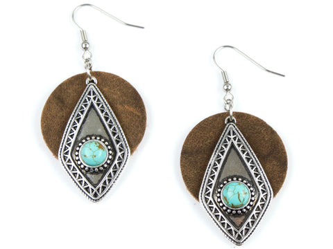 "Handmade ""Southwestern Sensibility"" Leather Earrings"