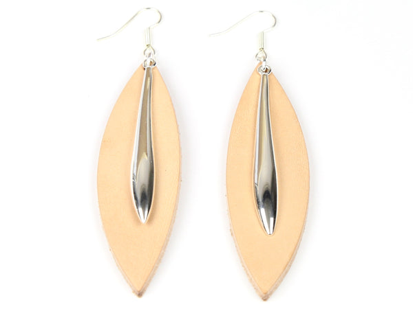 "Handmade ""Largo"" Leather Earrings in Natural"