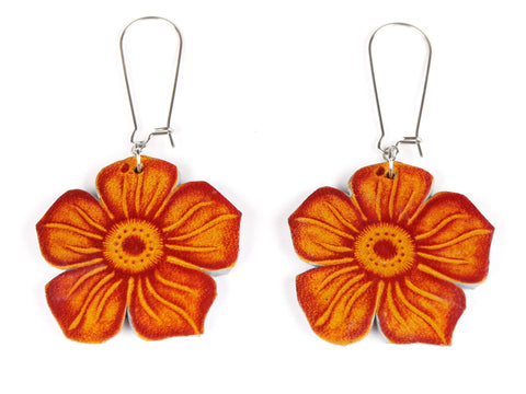 "Handmade ""Flora Drop"" Leather Earrings in Amber"