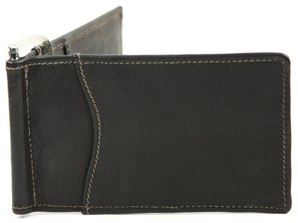 "Handmade ""Leather Bi-fold Money Clip Wallet with ID Window"""