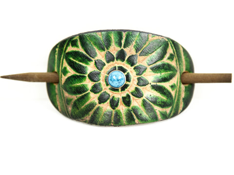 "Handmade ""Sunflower"" Leather Hair Barrette"