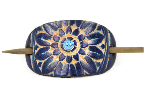 Accented Sunflower Leather Hair Barrette