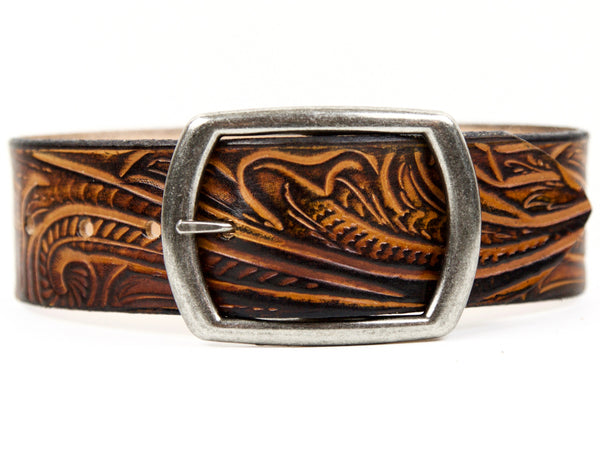 "Handmade Leather Belt-""Western Bloom"" (1.75"")"