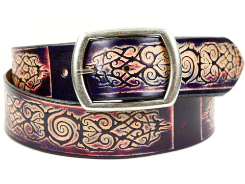 "Handmade Leather Belt-""Tattoo"" (1.75"")"