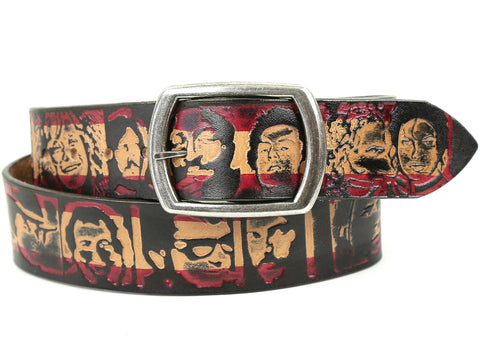 "Handmade Leather Belt-""Dead Rockstars"" (1.75"")"