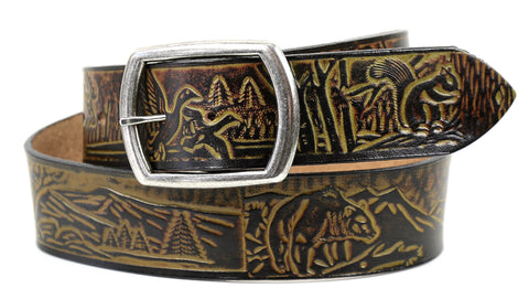 "Handmade Wide Leather Belt-""Wildlife Scene"""