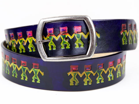 "Handmade Leather Belt-""Hopi Dancers"" (1.75"")"