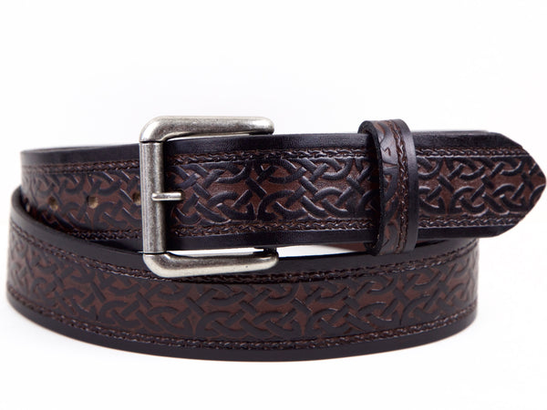 "Handmade Leather Belt-""Celtic Scroll"""