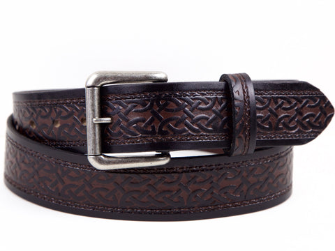 "Handmade Leather Belt - ""Celtic Scroll"""
