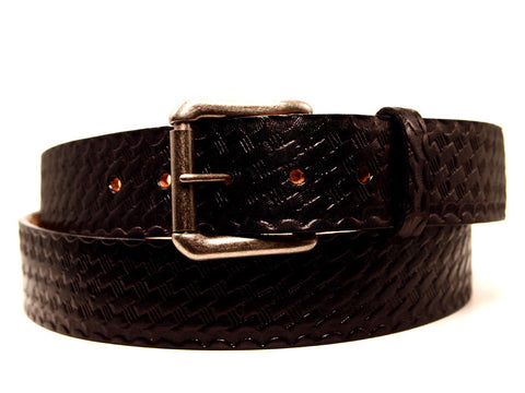"Handmade Leather Belt-""Classic Basketweave"""