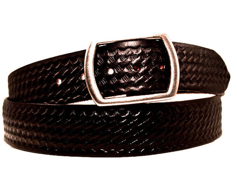 "Handmade Leather Belt-""Classic Basketweave"" (1.75"")"