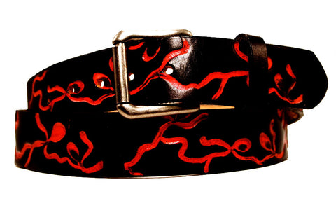"Handmade Leather Belt-""Dancing Vines"""