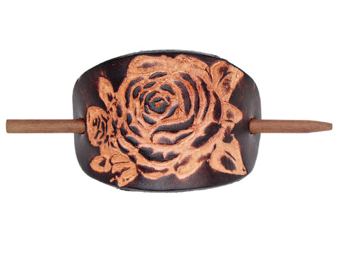 Desert Rose Leather Hair Barrette - Chocolate