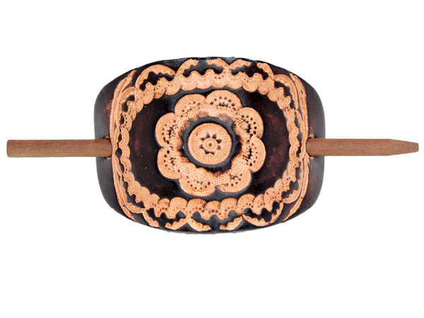 Floral Mandala Leather Hair Barrette - Chocolate