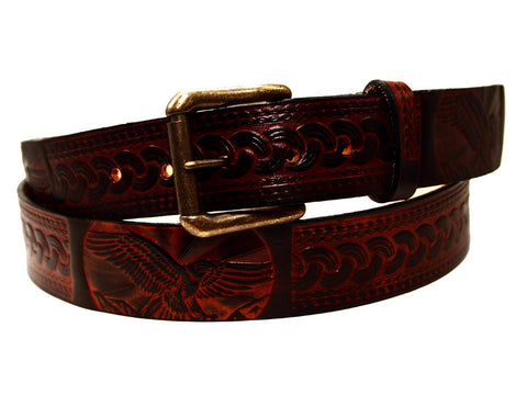 "Handmade Leather Belt-""Golden Eagle Braid"""