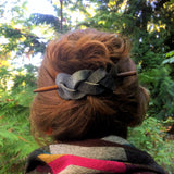 Braided Leather Hair Barrette - Denim Gray