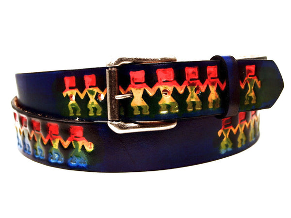"Handmade Leather Belt-""Hopi Dancers"""
