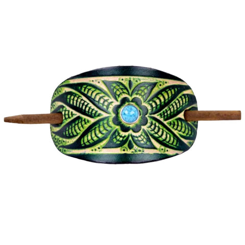 Accented Wildflower Leather Hair Barrette