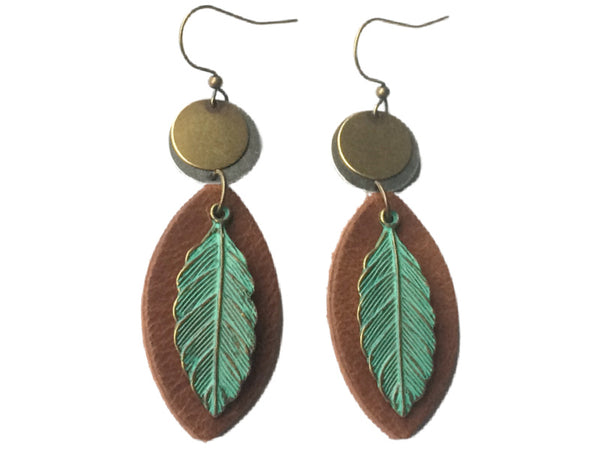 "Handmade ""Mixed Metal Leaves"" Leather Earrings"