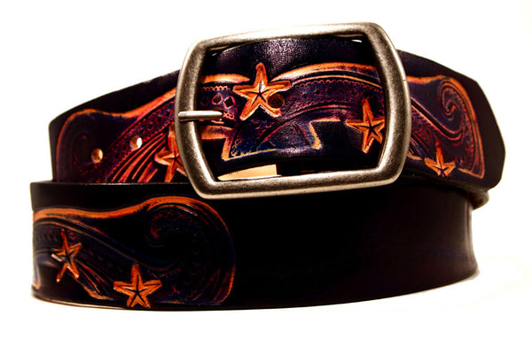 "Handmade Leather Belt-""Nebula"" (1.75"")"